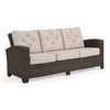 Kokomo Outdoor Wicker Sofa in Tortoise Shell finish with Cushions in Valor Putty fabric