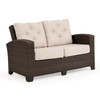 Kokomo Outdoor Wicker Loveseat in Tortoise Shell with Cushions in Valor Putty Fabric