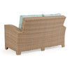 Kokomo Outdoor Wicker Loveseat in Oyster Grey with Cushions in Sparkle Pool Fabric (Alternate View)