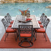 Charleston Outdoor Cast Aluminum 7 Piece Mixed Rectangle Dining Set (Lifestyle View)