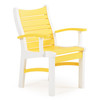 Bayshore Outdoor Dining Arm Chair White with Yellow Accents