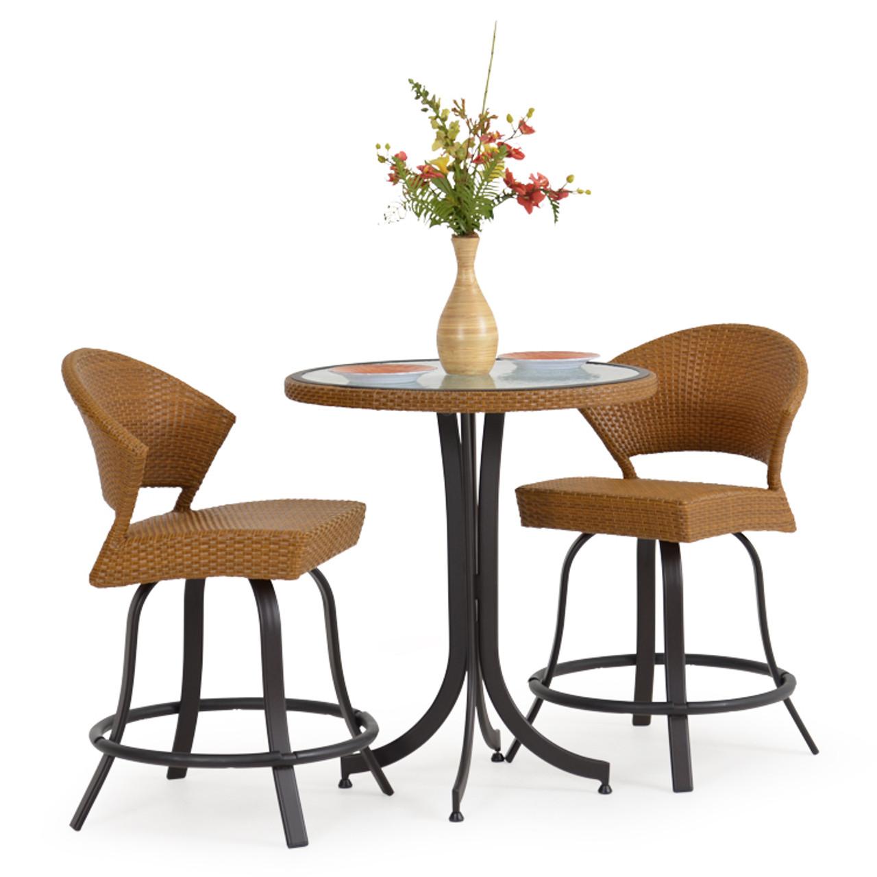 Cool Empire Outdoor Wicker 3 Piece Counter Height Bistro Set Cork Ibusinesslaw Wood Chair Design Ideas Ibusinesslaworg