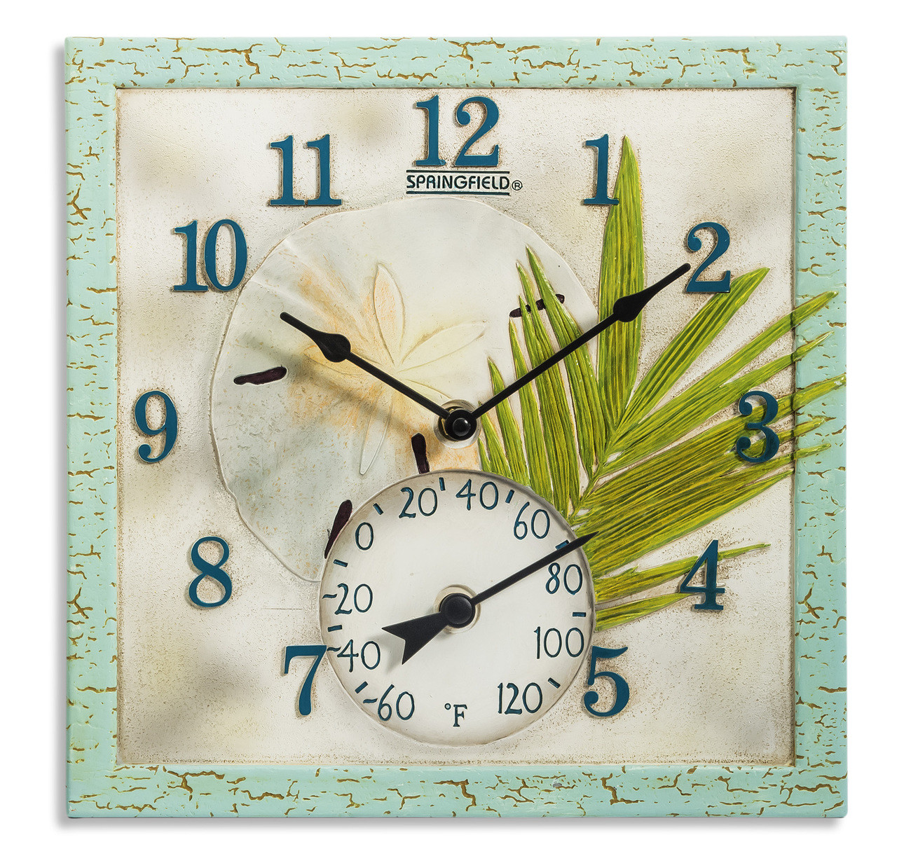 12 Quot Square Sand Dollar Outdoor Clock And Thermometer