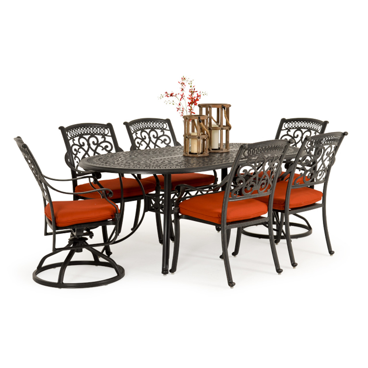 Charleston Outdoor Cast Aluminum 7 Piece Mixed Oval Dining Set Leaders Furniture