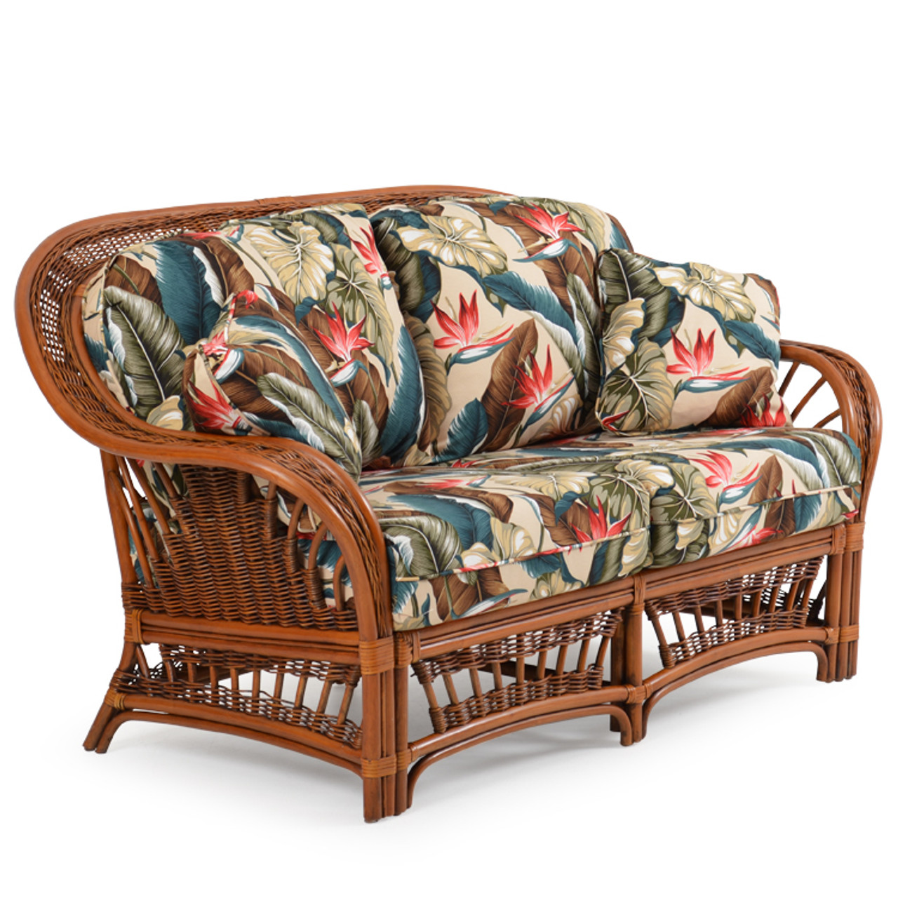 Bali Indoor Rattan Loveseat with Cushions - Leaders Casual ...