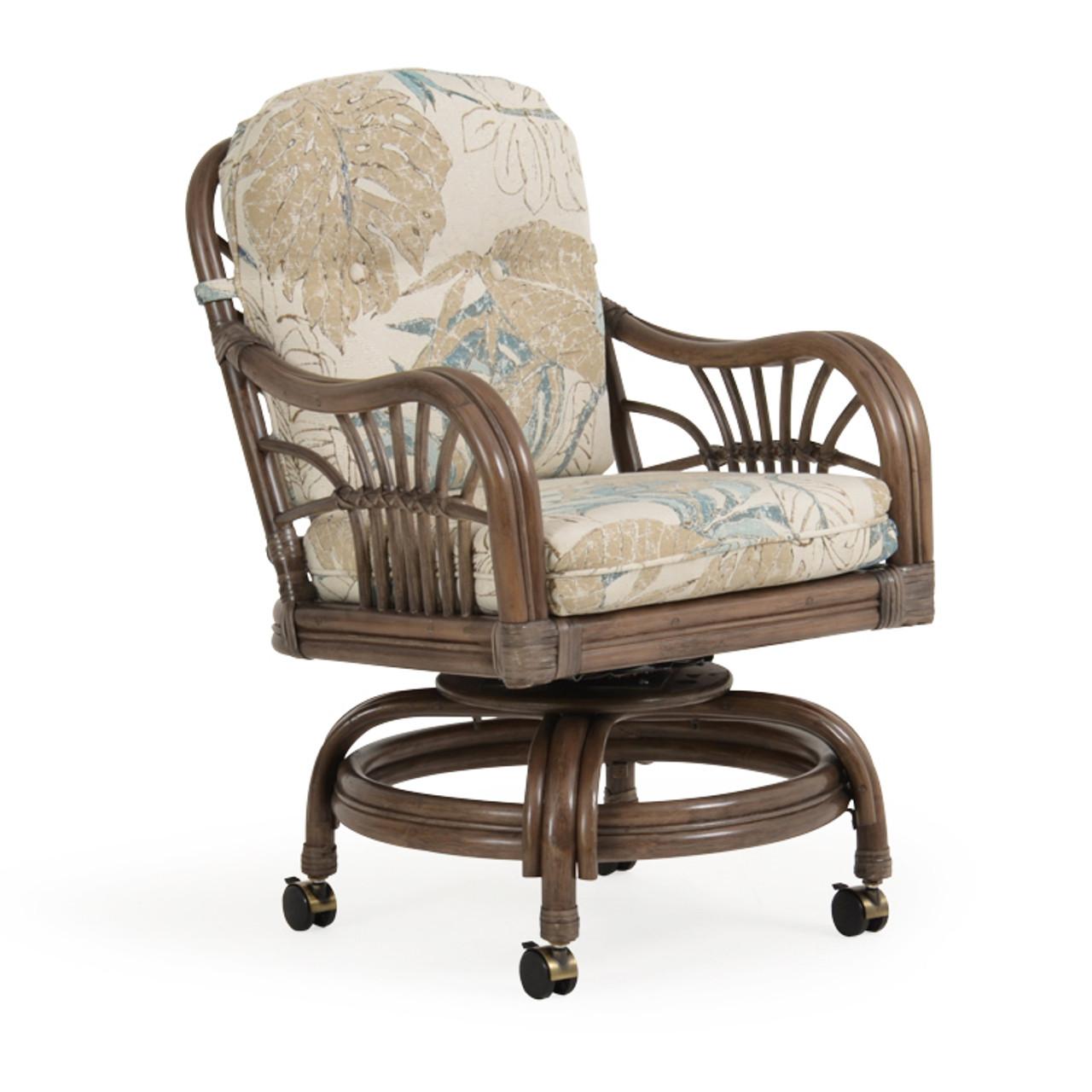 Islamorada Indoor Rattan Swivel Tilt Caster Dining Chair