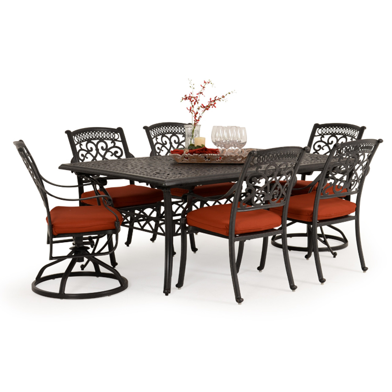 Charleston Outdoor Cast Aluminum 7 Piece Mixed Rectangle Dining Set Leaders Furniture