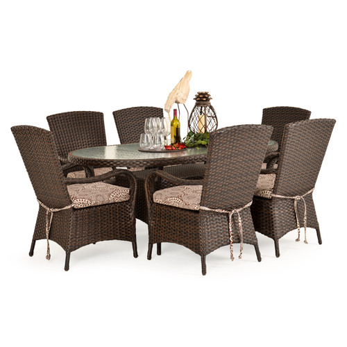 Kokomo Outdoor Wicker 7 Piece Dining Set (Tortoise Shell)