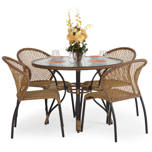 Empire Outdoor Wicker 5 Piece Bistro Set