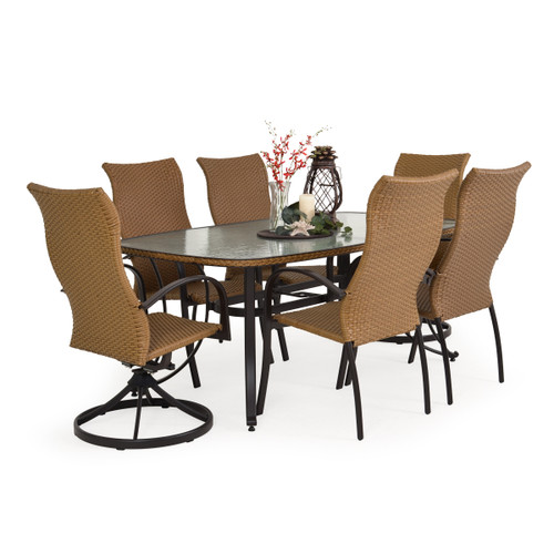 Empire Outdoor Wicker 7 Piece Mixed High Back Dining Set