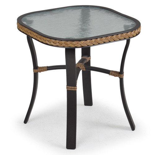 Empire Outdoor Wicker End Table with Glass Top