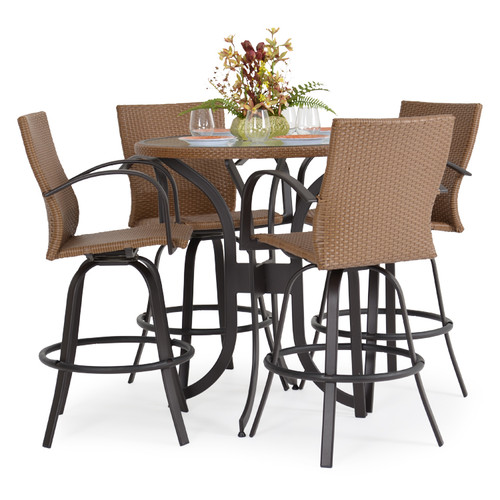 Empire Outdoor Wicker 5 Piece Outdoor Armed Bar Set