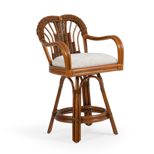 Bali Indoor Rattan Counter Height Swivel Stool