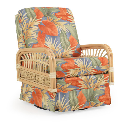 Islamorada Upholstered Swivel Glider with Rattan Arms