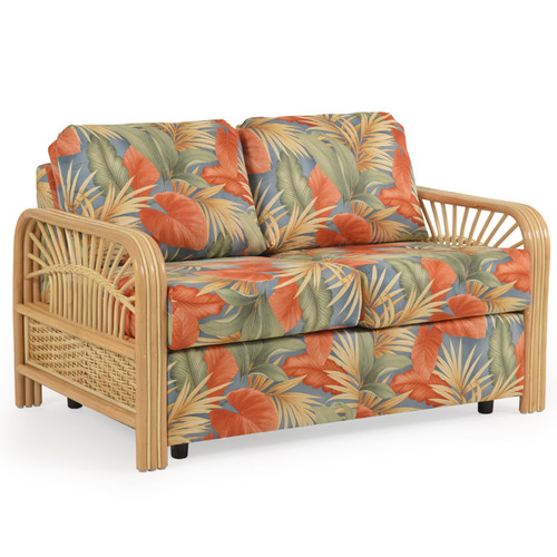 Islamorada Upholstered Loveseat with Rattan Arms