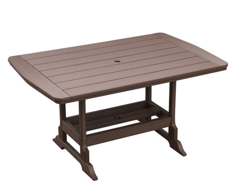 """Oceanside Outdoor 40"""" x 60"""" Poly Lumber Dining Table (Brown Finish)"""