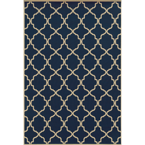 Riviera Navy Tiles Indoor Outdoor Rug