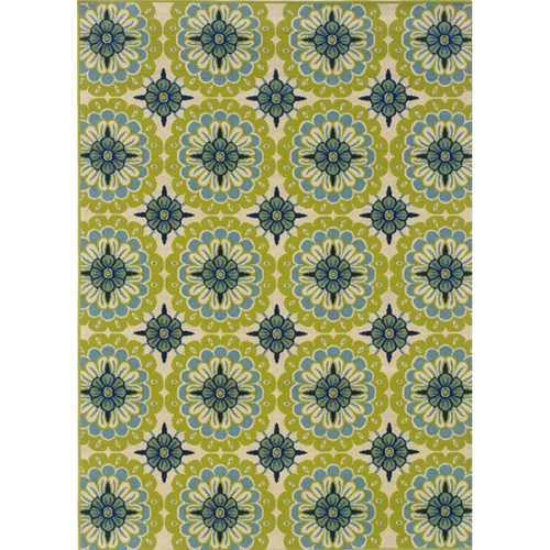Caspian Indoor/Outdoor Aqua Lime Floral Rug