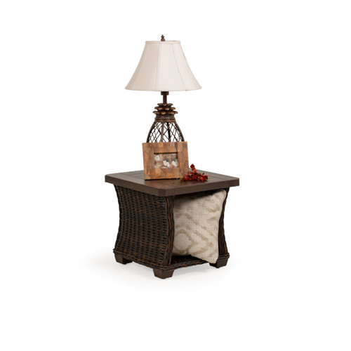 Maldives Outdoor Wicker End Table in Clove (Alternate View)