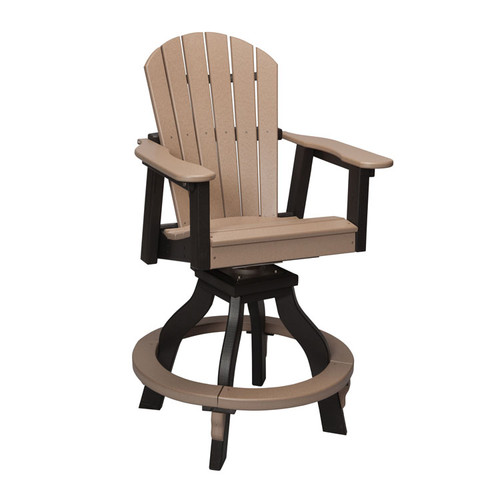 Oceanside Outdoor Poly Lumber Swivel Counter Height Stool with Arms