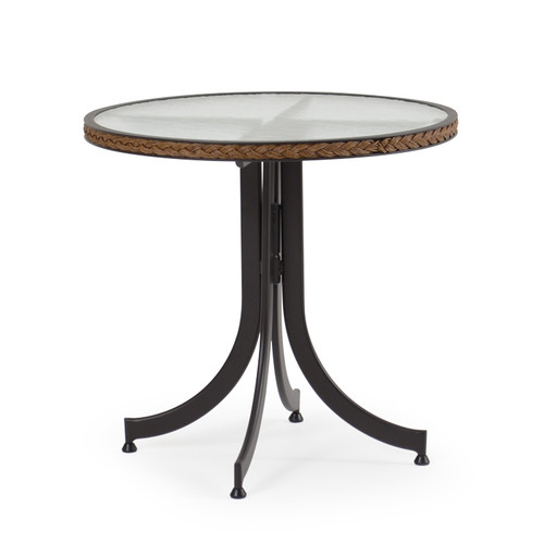 "Empire Outdoor Wicker 28"" Round Bistro Table with Glass Top"
