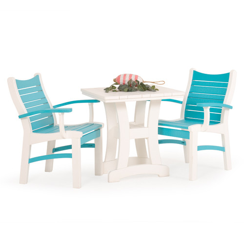 Bayshore Outdoor 3 Piece Poly Lumber White Bistro Dining Set with Turquoise Accents