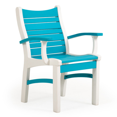 Bayshore Outdoor Dining Arm Chair White with Turquoise Accents (Alternate View)