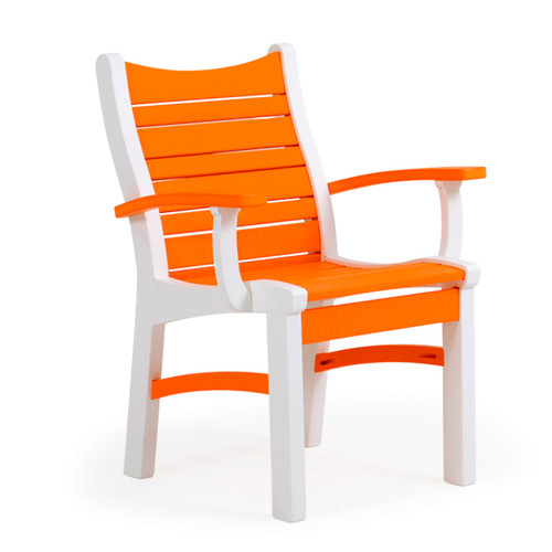 Bayshore Outdoor Dining Arm Chair White with Orange Accents (Alternate View)