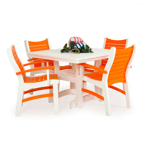 Bayshore Outdoor 5 Piece Poly Lumber White Bistro Dining Set with Orange Accents