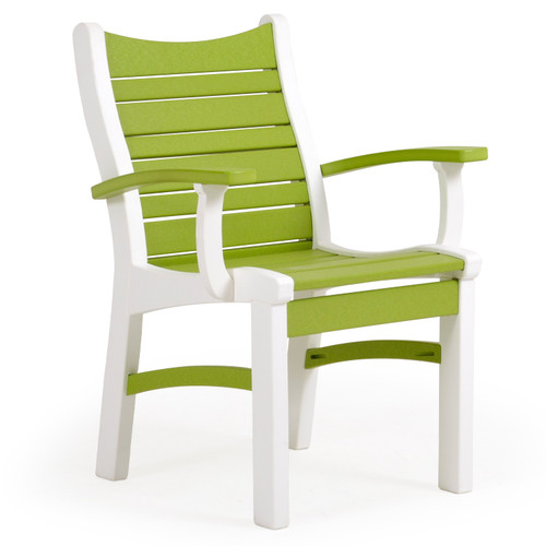 Bayshore Outdoor Dining Arm Chair White with Green Accents (Alternate View)