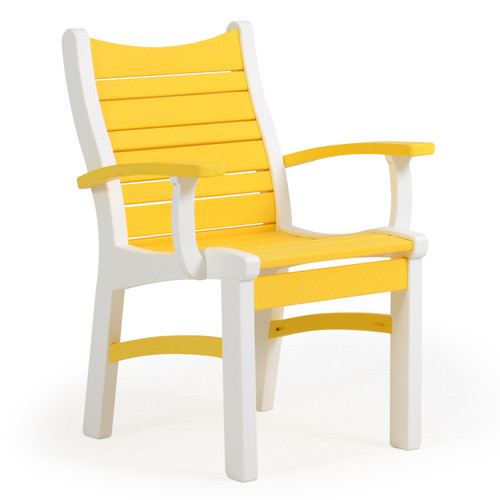 Bayshore Outdoor Dining Arm Chair White with Yellow Accents (Alternate View)