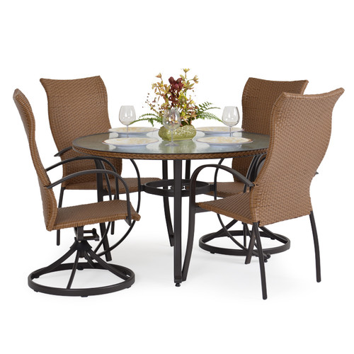 Empire Outdoor Wicker 5 Piece Mixed High Back Dining Set