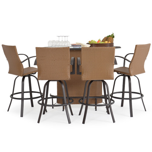 Empire Outdoor Wicker 5 Piece Party Bar Set