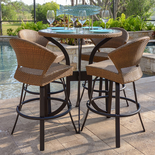 Empire 5 Piece Outdoor Wicker Bar Height Set (Lifestyle View)