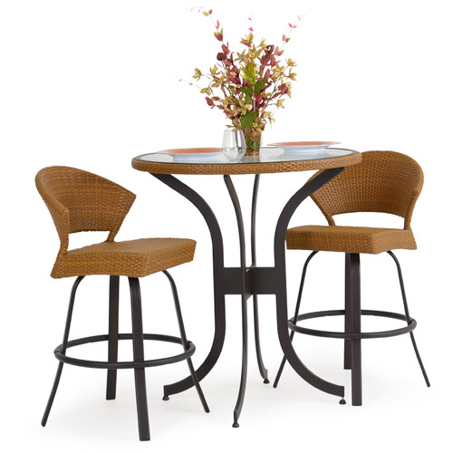 Empire Outdoor Wicker 3 Piece Bar Height Set