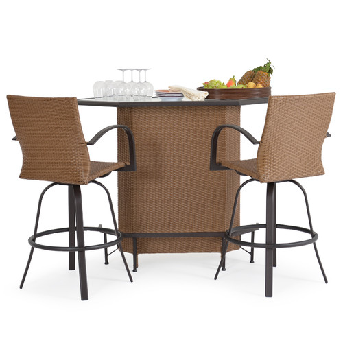 Empire Outdoor Wicker 3 Piece Party Bar Set Cork
