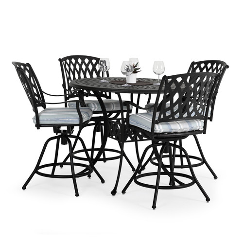Trellis Outdoor Cast Aluminum 5 Piece Counter Set