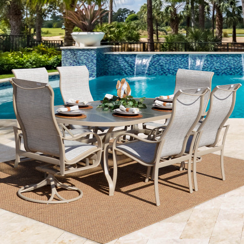 Shoreline Outdoor Aluminum 7 Piece Dining Set by Tropitone (Lifestyle)
