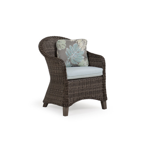 Sanibel Wicker Outdoor Dining Chair in Peppercorn Finish with Vintage Walnut PoliSoul™ Timber