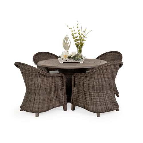 "Sanibel Wicker Outdoor 5 Piece Dining Set in Peppercorn Finish with 48"" Round Vintage Walnut PoliSoul™ Top"