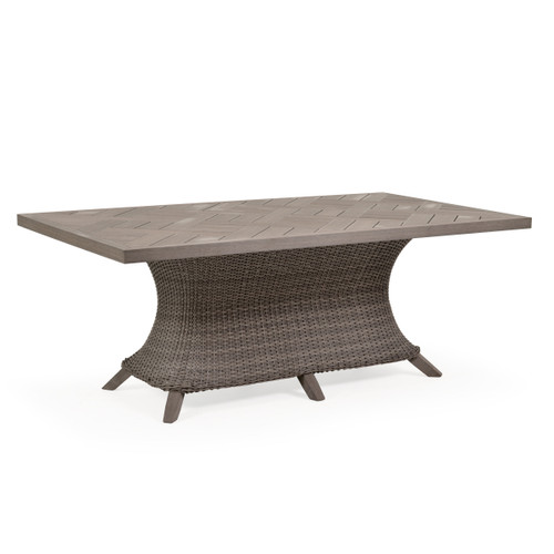Sanibel Outdoor Wicker Rectangle Dining Table in Peppercorn Finish with Vintage Walnut PoliSoul™ Table Top