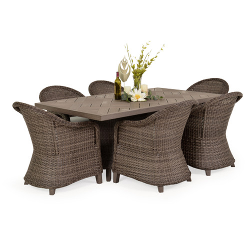 Sanibel Outdoor Wicker 7 Piece Rectangle Dining Set in Peppercorn Finish with Vintage Walnut PoliSoul™ Table Top