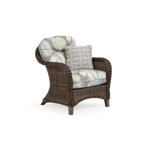 Sanibel Outdoor Wicker Club Chair in Peppercorn with Vintage Walnut PoliSoul™