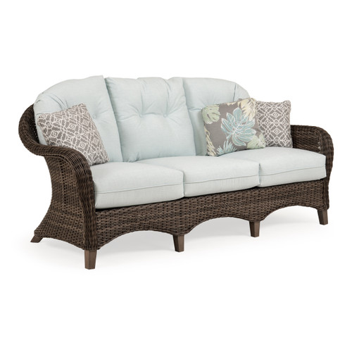 Sanibel Outdoor Wicker Sofa in Peppercorn with Vintage Walnut PoliSoul™