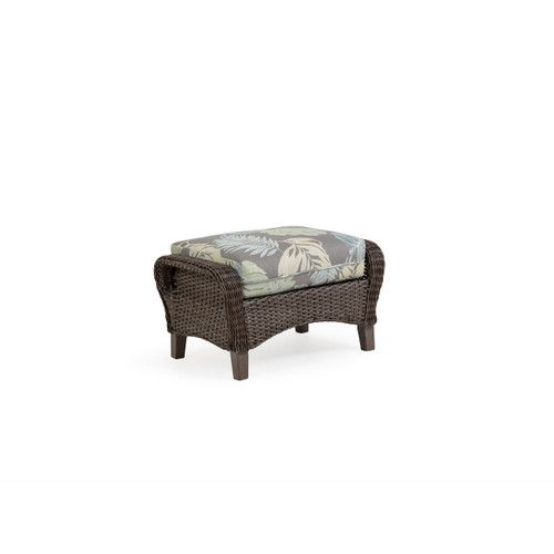 Sanibel Wicker Outdoor Ottoman in Peppercorn Weave with Vintage Walnut PoliSoul™