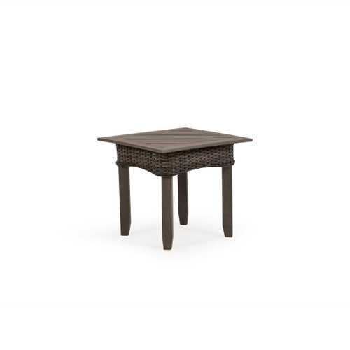 Sanibel Wicker Outdoor End Table in Peppercorn with Vintage Walnut PoliSoul™ Top