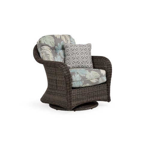 Sanibel Wicker Outdoor Swivel Glider Chair in Peppercorn with Vintage Walnut PoliSoul™