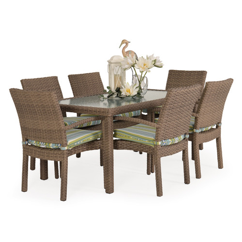 Kokomo Outdoor Wicker Stackable 7 Piece Dining Set (Oyster Grey)