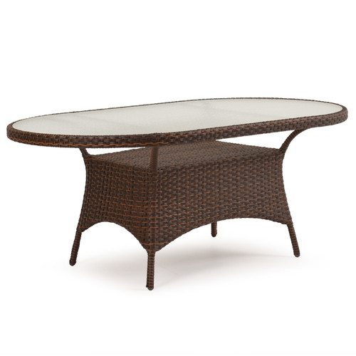 "Kokomo Outdoor Wicker 40"" x 70"" Oval Dining Table in Tortoise Shell"