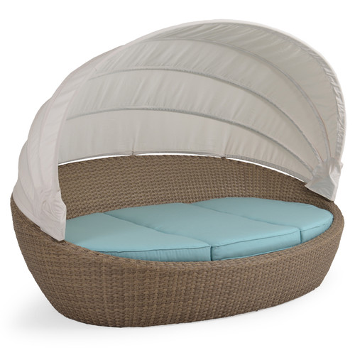 Kokomo Outdoor Wicker Day Chaise With Canopy (Oyster Grey)